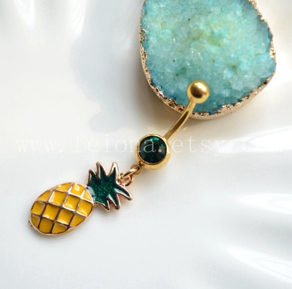 Pineapple belly button ring navel piercing friendship belly for Belly button navel jewelry