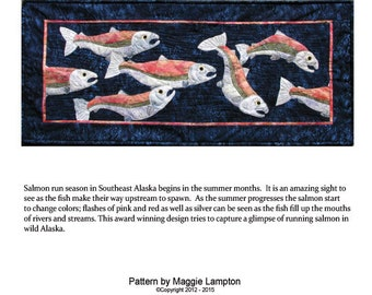 Running Salmon fusible applique quilt pattern.