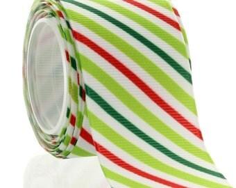 1.5 Christmas Stripe Grosgrain Ribbon - Choose Length