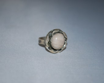 Sterling silver petrified bone gemstone ring size 4