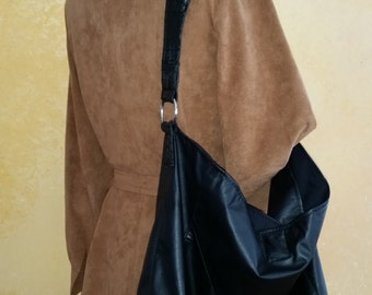 """Leather Purse Featuring """"Alligator"""" Strap Handmade from Upcycled Coat"""
