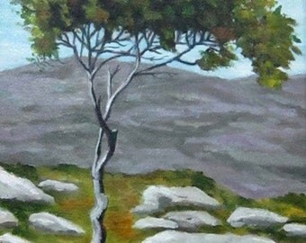 Faerie Fort and Tree, Irish landscape, Ireland, Faerie, trees, 9 x 12, original art, oil painting,