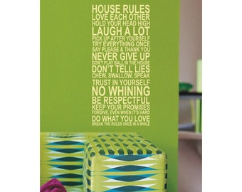 Large vinyl 'House rules' wall art quote sticker - 120cm tall - WS1006