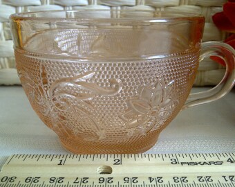"""Indiana Glass Company. Tiara Sandwich Glass Cup. Peack/Pink. 3"""" Tall. We Have 5."""