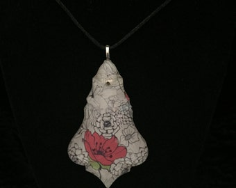 Vintage Poppy chandelier pendant necklace
