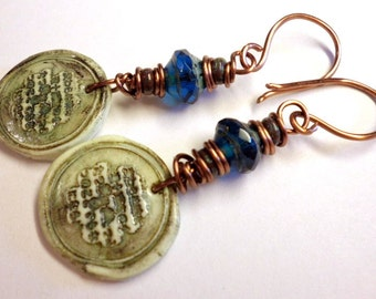 Polymer Clay Earrings, Green Blue Bohemian Earthy Earrings, Wire Wrapped Copper Earrings Handmade Jewelry Salakaappi