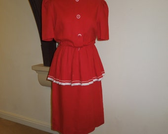 Vintage red cheerleader style suit dress UK size 12