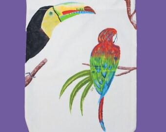 borsa di stoffa con tucano e pappagallo