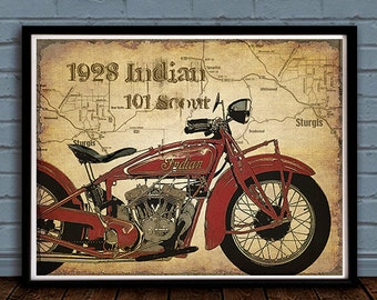 1928 Indian Scout Vintage Motorcycle art print with map of Sturgis artistically added to background.Great gift for motorcycle enthusiasts