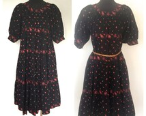 RARE 70's Soleiado La Provence de Pierre Deux Vintage Dress Hand Made in France Size Small