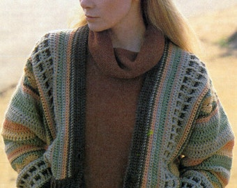 Pattern Only: Vintage Striped Cardigan Intermediate Crochet Pattern 1988 - PDF Download