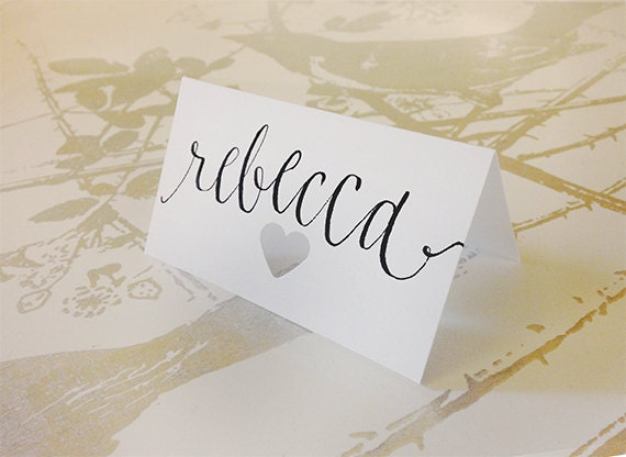 Hand Lettering Calligraphy Place Cards With By Papercasestudio