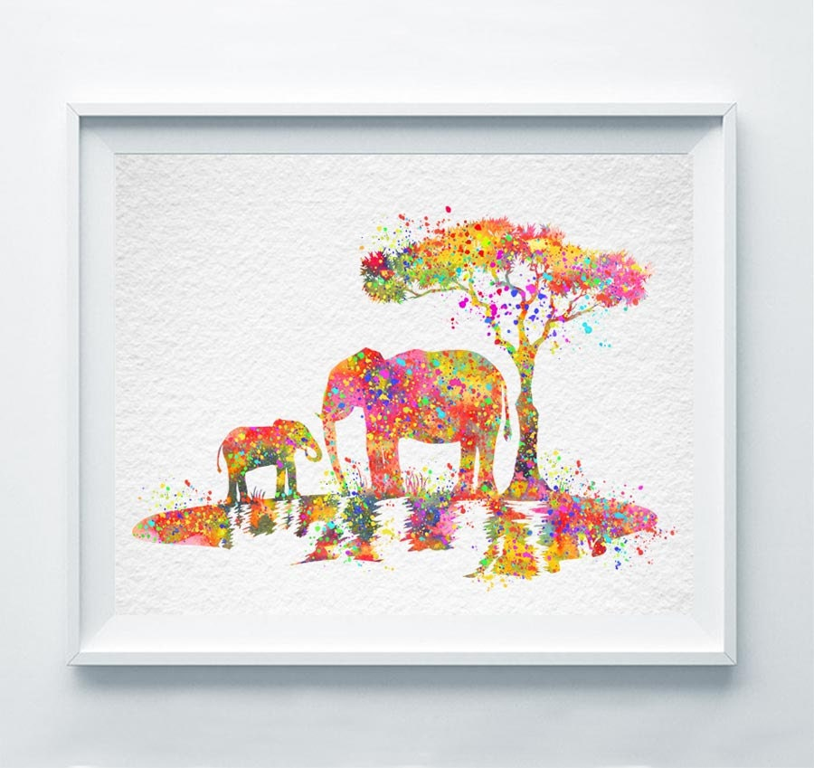 Painting Gift For Wedding : Elephant Family Print Watercolor Poster Abstract Painting