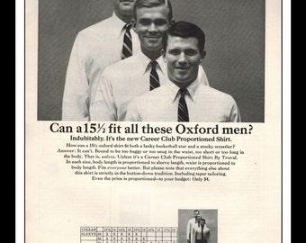"Vintage Print Ad October 1965 : Career Club Truval Shirts Clothing Wall Art Decor 8.5"" x 11"" Print Advertisement"