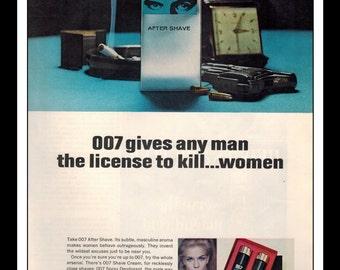 "Vintage Print Ad December 1965 : James Bond 007 Ater Shave Wall Art Decor 8.5"" x 11"" Advertisement"