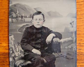 Serene Victorian Boy Tintype in Fantasy Scene ~ Victorian Tintype ~ Antique Tintype Photography
