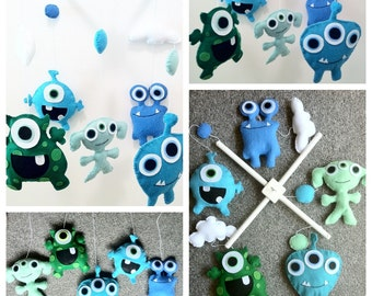 felt baby crib mobile, monsters, aliens