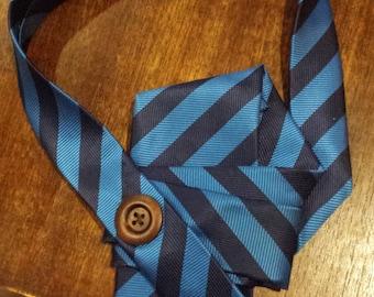 Necktie Scarf Piece: Two Tone Blue Stripes