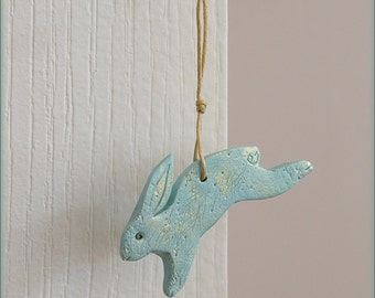 Primitive Bunny Ornament, Light Dusty Turquoise Polymer Clay Rabbit with Gold Accents, Animal Sculpture, Bunny Gift Topper