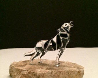 Handblown Glass Lone Wolf Sculpture (Small)