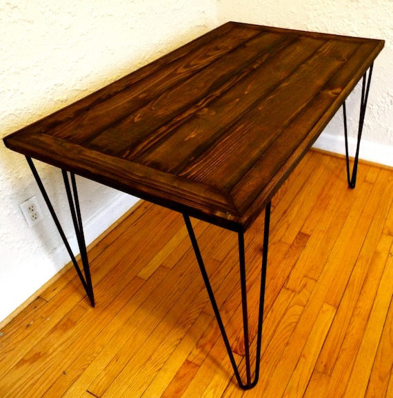 Reclaimed Wood Hairpin Leg Dining Table By by HammerFoxFurnishings