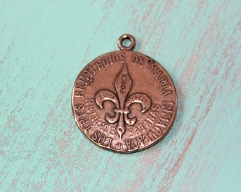 Religious Medals Vintage French, Ave Maria Sacred Heart Cross Pendant, Artisan Bronze, Jewelry Supplies