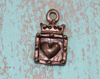 Crown Heart Charm, Artisan Bronze Crown Heart