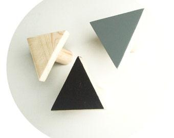 wooden wall hook - pine triangle hooks - hand painted decorative hooks - geometric hanger
