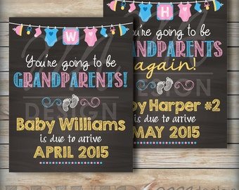 "Going to be Grandparents Pregnancy Announcement, Grandparents Again, Expecting, We're Pregnant, 8x10/16x20"" Chalkboard Style Printable Sign"