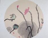 "Original Chinese Ink Painting ""Lotus""  - Flowers, Bird"