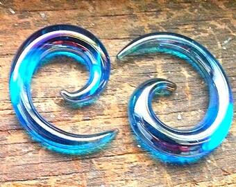 """8g--5/8"""" Blue LUCIFER GLASS Spiral Gauge Pair 8g 6g 4g 2g 0g 00g 7/16"""" 1/2"""" 9/16"""" 5/8"""""""