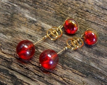 Vintage Red dangle Lucite earrings