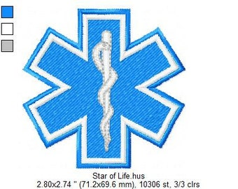 INSTANT DOWNLOAD: Star of Life Embroidery Files