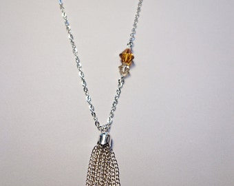 Pompon, beads Swarovski silver necklace