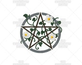 Earth Pentacle Pagan Wiccan Stylized Sacred Symbol Machine Embroidery Pattern Design