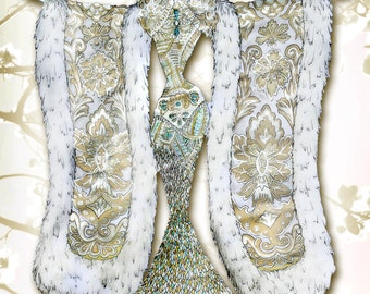 High Quality fashion illustration of Haute Couture garments