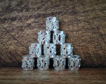 15 Dreadlock Beads | Filigree Silver Toned Metal, Adjustable Cuff, 8mm Hole Size