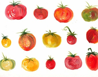 Heirloom Tomato Watercolor Print, Motley Crew of Tomatoes, Farmer's Market Art, 8.5x11