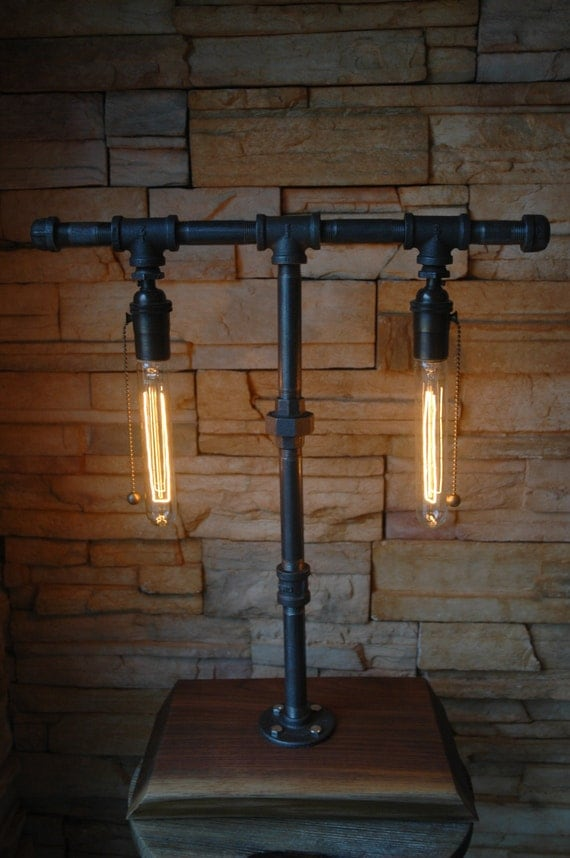 On Sale Industrial Gas Pipe Table Lamp With Walnut Base
