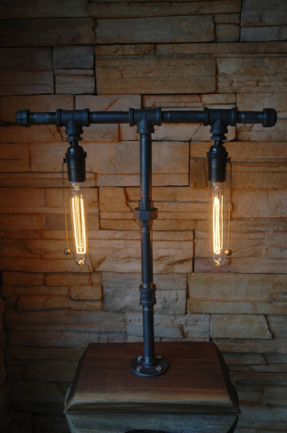 On sale industrial gas pipe table lamp with walnut base for Gas pipe lamp