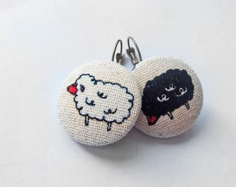 Small Earrings, Fabric Jewelry, Sheep Jewelry, Fabric Earrings, Beige Earrings, Kawaii Earrings, Animal Jewelry, Fabric Earrings