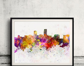 Omaha skyline in watercolor background 8x10 in to 12x16 Poster Digital Wall art Illustration Print Art Decorative  - SKU 0190