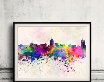 Fresno skyline in watercolor background 8x10 in to 12x16 Poster Digital Wall art Illustration Print Art Decorative  - SKU 0193