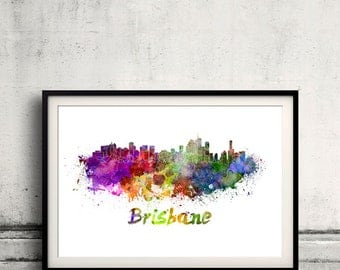 Brisbane skyline in watercolor over white background with name of city 8x10 in. to 12x16 in. Poster Wall art Illustration Print  - SKU 0335
