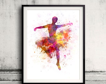 Woman ballerina ballet dancer dancing 8x10 in. to 12x16 in. Poster Digital Wall art Illustration Print Art Decorative  - SKU 0495