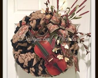 Custom Heirloom Wreath  (Shown with Heirloom Violin)