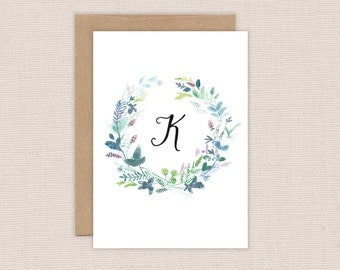 Personalized Monogram Card - Initial Stationery - Blue Floral Wreath - Watercolor Flowers - Boxed Cards