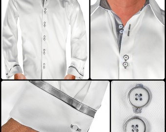 Men's White Designer Dress Shirt - Made To Order in USA