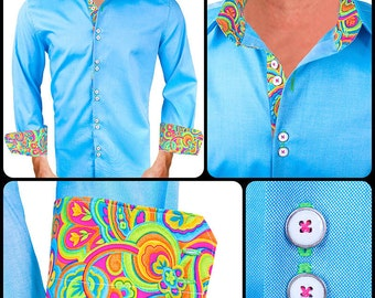 Bright Colored Men's Designer Dress Shirt - Made To Order in USA