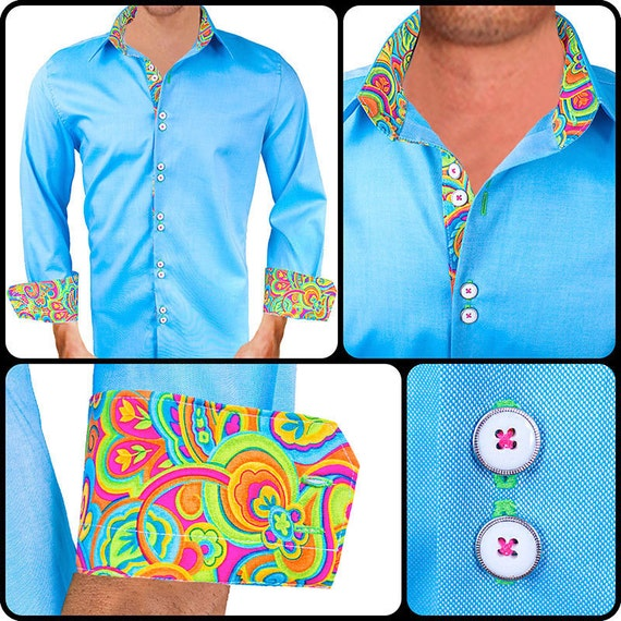 Bright colored men 39 s designer dress shirt made to order for Made to order shirts online